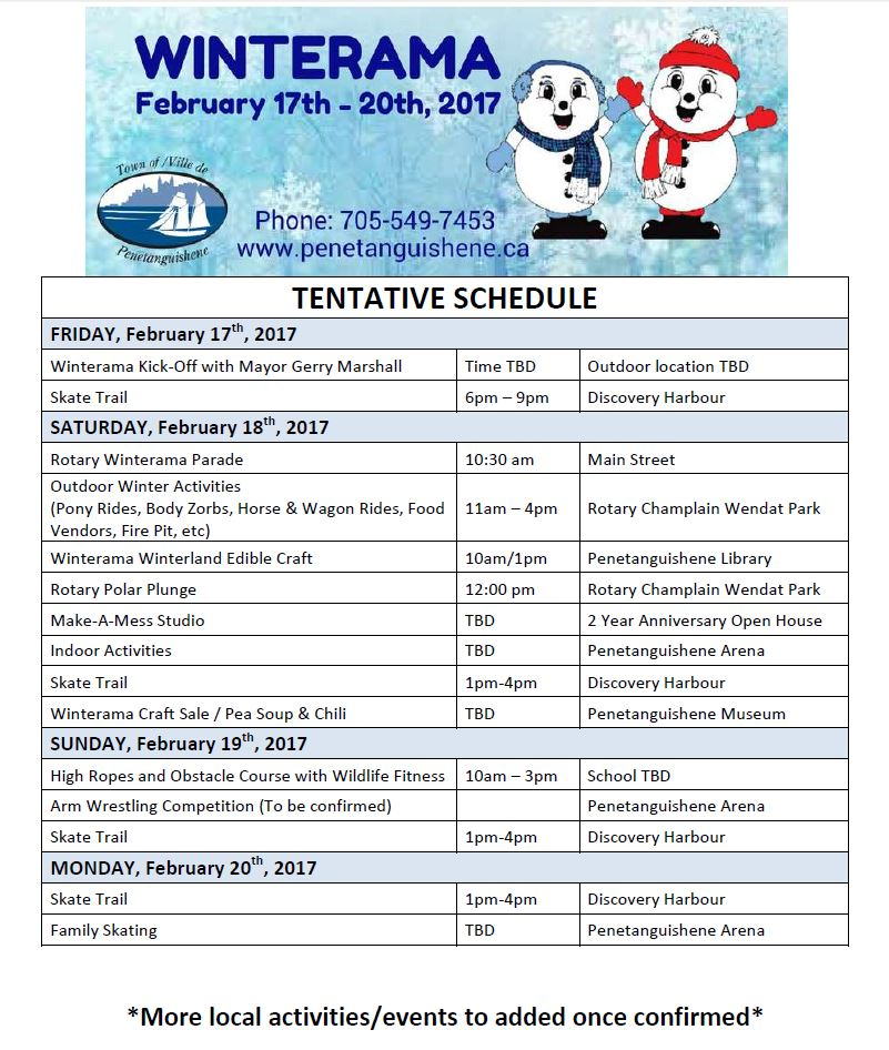 Looking for something to do this weekend?!  Why not check out the 2017 Penetang Winterama!