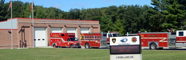 Fire hall and fire trucks