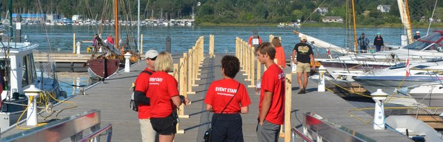 Volunteers at the Town Dock during Tall Ships